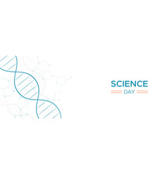 Science day web banner of dna strand molecule vector