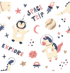 Seamless pattern with cute astronauts unicorn vector