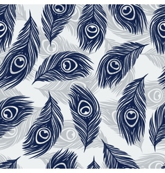 Seamless pattern with hand drawn feathers peacock vector image