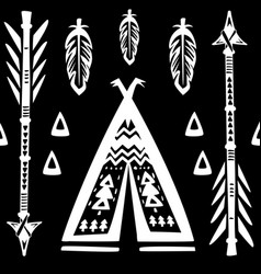 seamless pattern with wigwams and arrows vector image