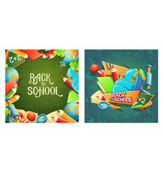 set of cartoon banners with school vector image