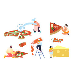 Set people baking and eating huge pizza male vector