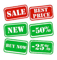 set sale banners in green and red colors vector image