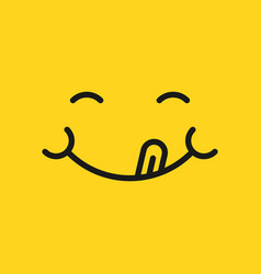 smile face icon in flat style tongue emoticon on vector image