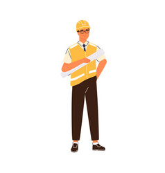 smiling male construction engineer flat vector image