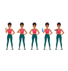 sport african woman set vector image