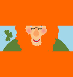 st patricks day banner leprechaun face head with vector image