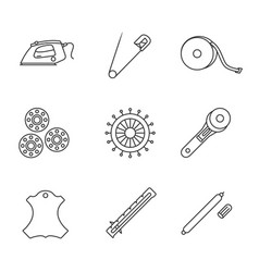 Tailoring linear icons set vector