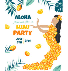 Tropical hawaiian poster with a girl vector