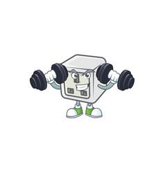 Usb power socket mascot icon on fitness exercise vector