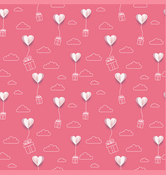 valentines paper put hearts balloons with line art vector image