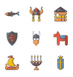 Viking equipment icons set cartoon style vector