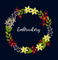 vintage embroidery wreath with flowers for decor vector image