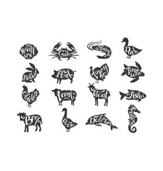 Vintage farm animals and sea animals vector