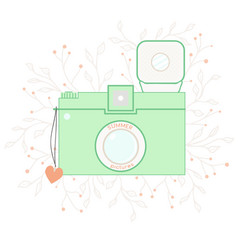 Vintage summer photo camera card vector