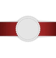 White blank Badge on red Ribbon vector image