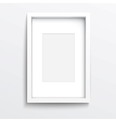 White vertical frame on gray wall vector image