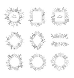 Winter frames with evergreen plant and branches vector