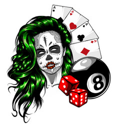 woman with casino playing vector image