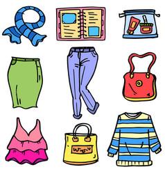 Women clothes set doodles vector