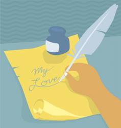 writing with quill vector image