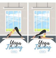 Yoga training vertical flyers in flat style vector