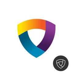 abstract triangle colorful ribbon shield logo vector image vector image