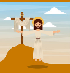 Ascension jesus christ cross christianity vector