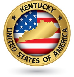 Kentucky state gold label with state map vector image vector image