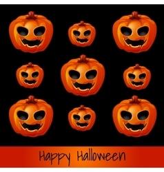 Set of nine pumpkins for Halloween vector image