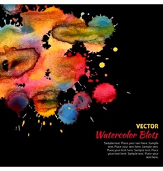 Template with bright watercolor blots vector image vector image