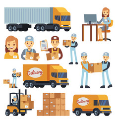 warehouse workers cartoon characters - vector image vector image