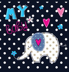 with cute elephant vector image