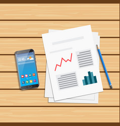 analysis of statistical data and smartphone vector image