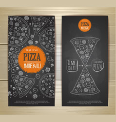 Chalk drawing pizza Set of banners vector image