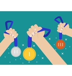 Hands holding medal vector image