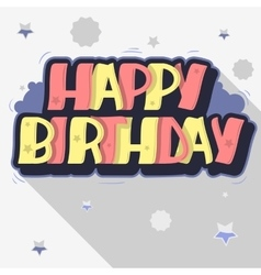 Happy birthday greeting card graffiti style label vector