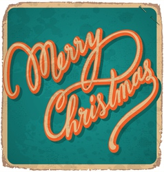 MERRY CHRISTMAS hand lettering vintage card vector image vector image