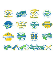 set of longboard emblems vector image