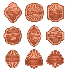 Set of old brown labels vector