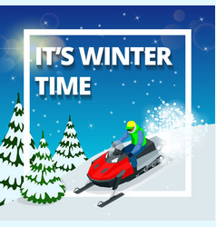 winter background with man on snowmobile its vector image vector image