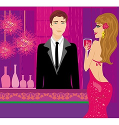 bartender at the club and beautiful woman vector image vector image