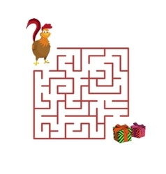 Christmas game rooster in the maze vector image vector image