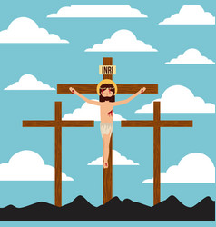 crucifixion of jesus christ three crosses vector image