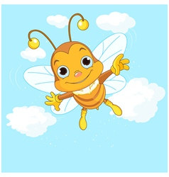 Cute Bee flying in the sky vector image