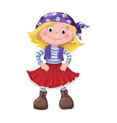 cute girl of children pirates vector image vector image