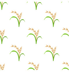 Rice plant vegetarian food seamless pattern vector