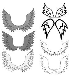 Set of bird wings for heraldry design isolated on vector image