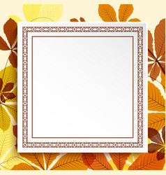square frame on autumn leaves background vector image vector image