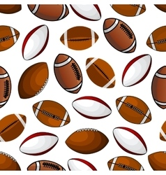 American football and rugby balls seamless pattern vector image